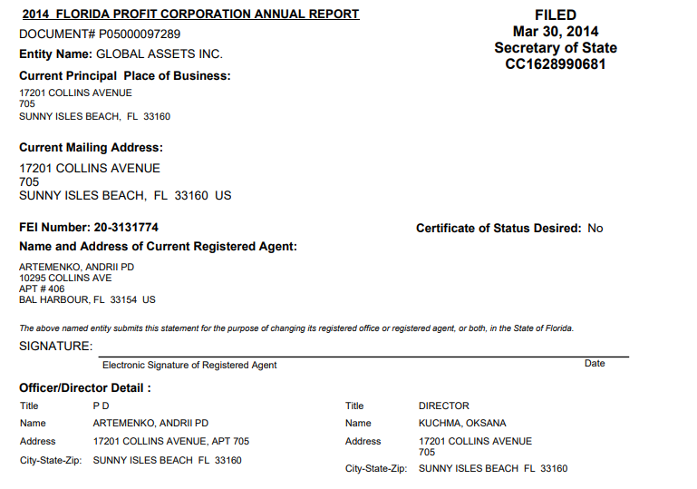 Document showing Andrey Artemenko controls Global Assets Inc.