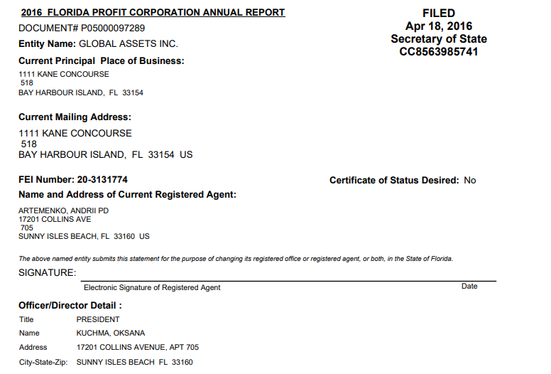 2016 Florida filing showing Artemenko 's wife as President of Global Assets Inc.