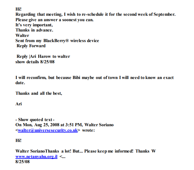Soriano emails with Ari Harow
