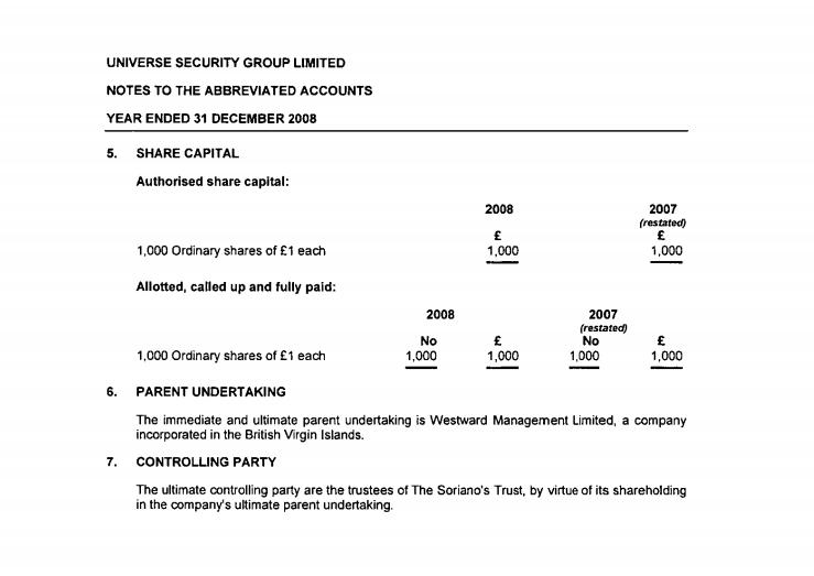 Soriano 's USG shareholder Westward Management